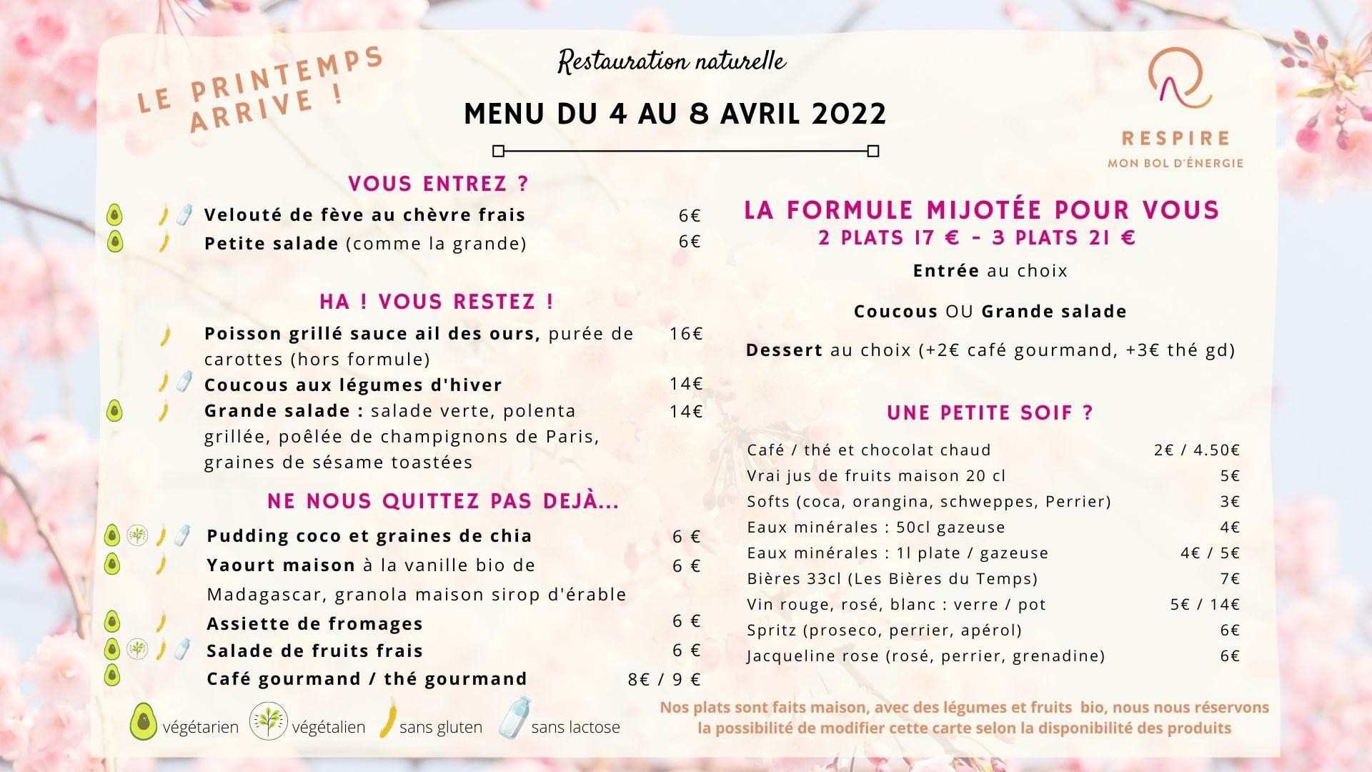 Carte menu cuisine naturelle produits de saison Théo Coutier Respire Restaurant Bourgoin Jallieu formule 16€ 20€